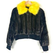 Adrienne Landau Jacket Size Medium Coat Cropped Faux Fur Bomber Brown Yellow NWT