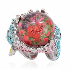 Pressed Flowers in Enamel w/Multi-Colored Austrian Crystal Ring Stainless Steel