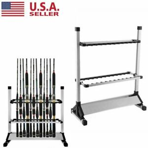 Aluminum Alloy Portable 12/24 Rods Rack Fishing Rod Pole Holder Stand Storage