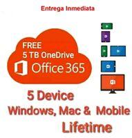 Microsoft Office 365 Pro Plus 5 Dispositivos & Suscripción de por vida Mac y Win