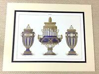 1988 Stampa Francese Delfino Pesce Urna Cobalto Blu Dorato Antico Porcellana