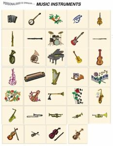 MUSICAL INSTRUMENTS CD or USB machine embroidery design file most format pes etc
