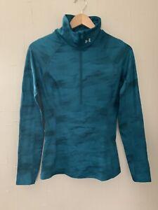 Under Armour UA Women's ColdGear 1/2 Zip Fitness Running Shirt Jacket XS Camo