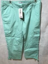 NWT Caribbean Joe Capries Womens 10 Island Agua Cargo Stretch Comfort