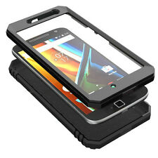 Poetic Revolution Black Case【 Built-In Screen Protector】For Moto G4