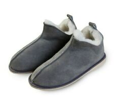 Merino Wool Natural Leather Grey Wool COZY FOOT Slippers Boots Sheepskin SALE