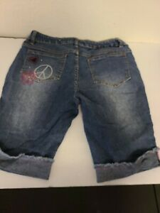 Total Girl Girl's Shorts Size 14 1/2 Plus Denim Blue Jean Shorts Long EUC