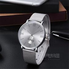 Womens White Dial Mesh Stainless Ultra Thin Stylish Quartz Fashion Wrist Watch