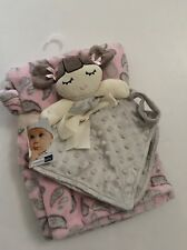 Vitamins Baby Girl Security Blanket Set Pink Grey Doll Minky Dot Paisley Layette