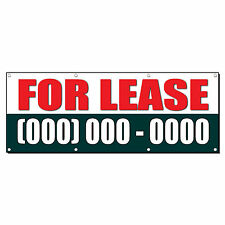 FOR LEASE Custom Phone Number 3 ft x 6 ft Banner Sign w/6 Grommets