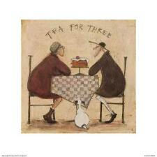 DOG ART PRINT Tea for Three Checkered Tablecloth Sam Toft