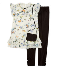 Butterfly Top Skinny Fit Legging Set with Purse Knit Works Short Sleeves XL (16)