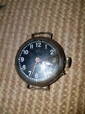 WW1 era black dial silver trench watch