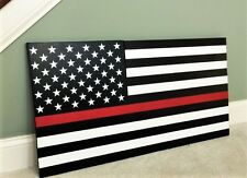 "36x19"" Large Hand-Crafted Thin Red Line Wood American Flag for our Firefighters"
