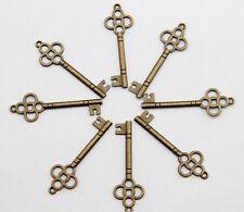 wholesale 15pcs alloy bronze plated key charms pendant 46x15 mm