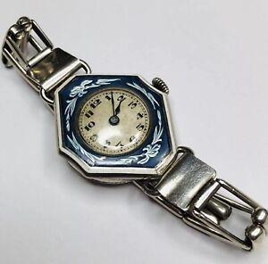Lovely Antique Silver Enamel Gents Wristwatch Expandable Bracelet Watch