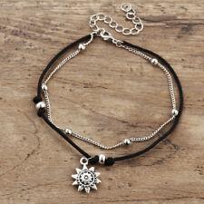 Women Double-layer Ankle Bracelet Bohemian Sun Anklet Chain Foot Jewelry G