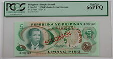 (1978) Philippines 5 Piso Specimen Note SCWPM# 160a-CS1 PCGS 66 PPQ Gem New