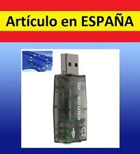 TARJETA DE SONIDO PC por USB 2.0 auriculares microfono ADAPTADOR jack 3.5mm 2Ps3