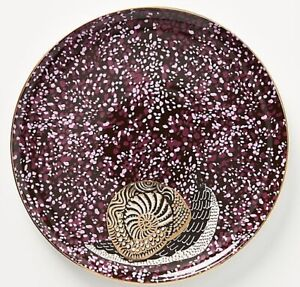 SET 4 ANTHROPOLOGIE GISELE SNAIL GOLD ACCENT STONEWARE DESSERT SIDE PLATE PLUM