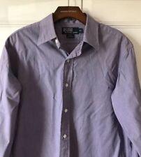 Mens Polo By Ralph Lauren Camisa Informal Lowell púrpura Houndstooth 15.5 100% algodón