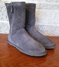 NWOB UGG 1003525 WOMENS LO PRO SHORT PERF GRAY/BROWN SUEDE SIDE ZIP BOOTS US 6