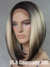 Bob Cut New Lace Front Wig Blonde Dk Roots short Heat Safe Hair piece WELY