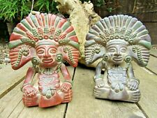 More details for fair trade hand carved made ceramic maya mayan maize god sculpture statue
