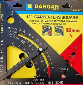 """Dargan 12"""" Roofing Quick Speed Square Adjustable Heavy Duty CT41/DT Free Red TED"""