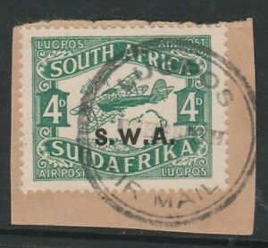 South West Africa 1930 4d Green with Retouched cloud R 6/9 SG 72 Fine used.
