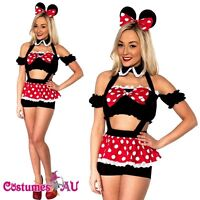 Ladies Sexy Minnie Mickey Mini Mouse Costume Fancy Dress Halloween Disney Outfit