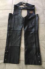 Harley Davidson Mens Genuine Black Leather Chaps Size Medium