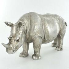 Rhinorceros Figurine Statue Sculpture Rhino Ornament Antique Silver Finish NEW