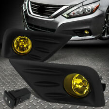 FOR 16-18 NISSAN ALTIMA AMBER LENS FRONT BUMPER FOG LIGHT LAMPS W/BEZEL+SWITCH