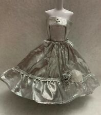 EVENING DRESS MODEL MUSE BARBIE DOLL Metallic Silver High Low GOWN