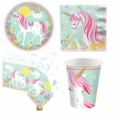 Unicorn Deluxe Party Pack for 16 Guests - Plates, Napkins, Cups & Tablecover