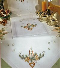 """""""Christmas Candle Star"""" tablecloth KIT to embroider.Stamped 100% cotton.SALE !"""