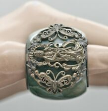 Excellent Old Chinese Green Jade Stone Archer Ring Metal Mounted