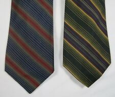 XMI Silk Ties Stripes Navy Blue Red Yellow Set Of 2