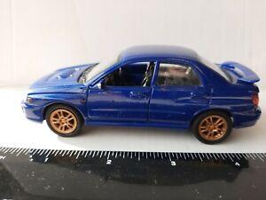 WELLY 2002 SUBARU IMPREZA WRX STI BLUE 1/34-39 SCALE DIE CAST PULL BACK CAR