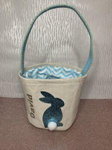 Personalised Easter Egg Hunt Bag Bucket Tote Bag Blue Bunny Gift Boy Girl