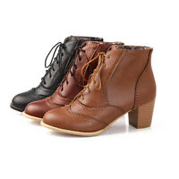 Brogues Women Chunky Heel Leather Lace Up Round Toe British Ankle boots Wing Tip