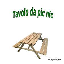 TAVOLO IN LEGNO DI PINO PICNIC PANCHINA TAVOLINO CON PANCHE GIARDINO 180x167x73h