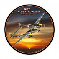 P-38 Lightning Round Metal Sign - Hand Made in the USA with American Steel
