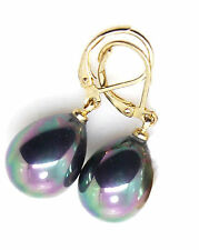 SP 16mm Black Teardrop Shell Pearl Leverback Earrings