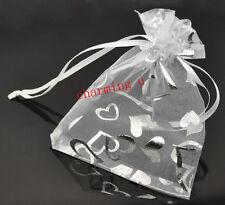 10pz sacchetti in organza e tessuto argento cuore colore bianco 12x10cm