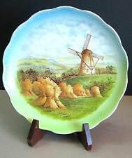 "9"" Dresden China Plate Windmill Autumn Holland Dutch Vtg Landscape FREE SH"