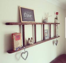 Upcycled vintage wooden step ladders for display shelf rack