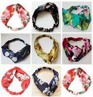 Women Lady Flower Boho Bohemian Cross hair head headband band Scarf Wrap Bandana