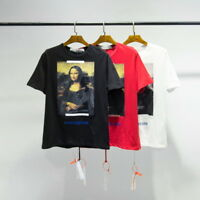 NEW OFF-WHITE Mona Lisa Print Men's Short Sleeve T-Shirt Cotton Unisex Tee Tops